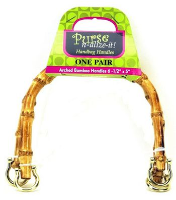 "Purse n-alize-it Arched Bamboo Handles 6-1/2"" x 5"""