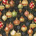 Christmas Cotton Fabric-Decorative Ornaments Black Metallic