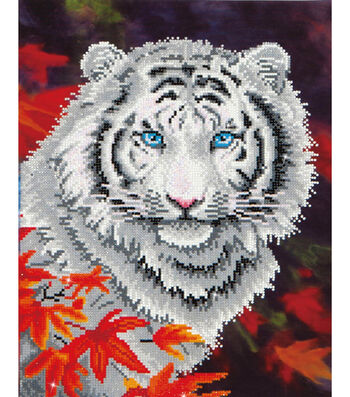 """Diamond Embroidery Facet Art Kit 17.2""""X21.7""""-White Tiger In Autumn"""