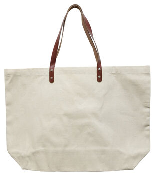 Large Canvas Tote with Leather Straps-Natural