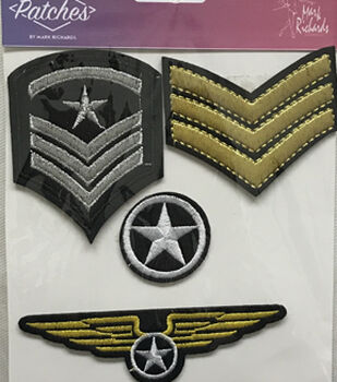 Mark Richards 4 pk Assorted Embroidered Military Iron-on Patches
