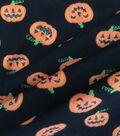 Halloween Doodles Cotton Interlock Fabric-Glitter Pumpkins