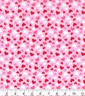 Valentine\u0027s Day Cotton Fabric-Glitter Hearts on Pink
