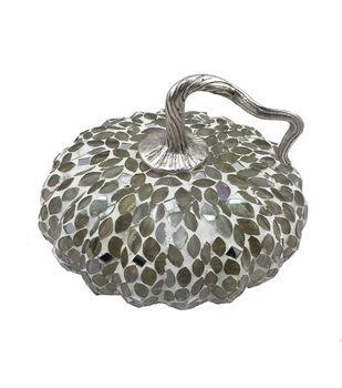 Simply Autumn Large Glass Mosaic Pumpkin-Silver