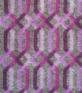 Luxe Fleece Fabric 59\u0022-Plum & Gray Lattice