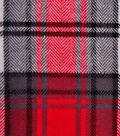 Shirting Cotton Flannel Fabric 43\u0022-Black, Red & White Plaid