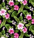 Tropical Shirting Fabric -Fuchsia Hibiscus