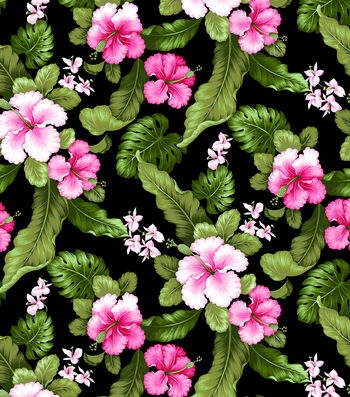 "Tropical Shirting Fabric 44""-Fuchsia and Hibiscus"