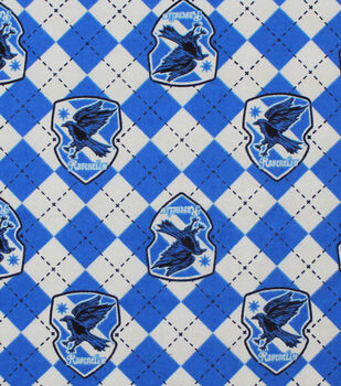 Harry Potter Flannel Fabric-Ravenclaw Argyle