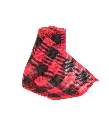 Maker's Holiday Burlap Ribbon 5.5''x15'-Red & Black Buffalo Checks