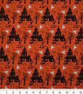 Halloween Cotton Fabric-Haunted Houses on Orange
