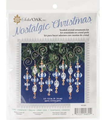 Solid Oak Nostalgic Christmas Beaded Crystal Icicles Ornament Kit-Gold