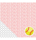 American Crafts Sport Softball Sentiments Double-Sided Cardstock