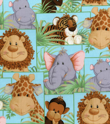 "Nursery Cotton Fabric 44""-Jungle Babies Patch"