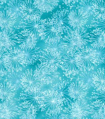 """Premium Quilt Cotton Fabric 43""""-Dandelions Teal"""