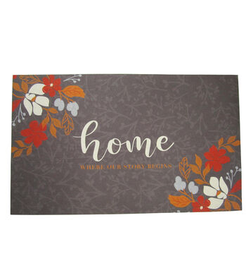 Simply Autumn Rubber Door Mat-Home Where Our Story Begins & Floral
