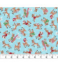 Christmas Cotton Fabric -Tossed Rudolph
