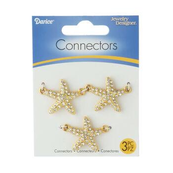Chic Starfish Connectors, Silver, 3pc.