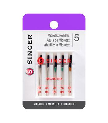 Singer 5 ct Microtex Sewing Machine Needles Sizes 60/08, 70/09, 80/11