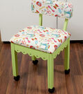 Arrow Green Sewing Chair with Scalloped Base-Sewing Notions on White