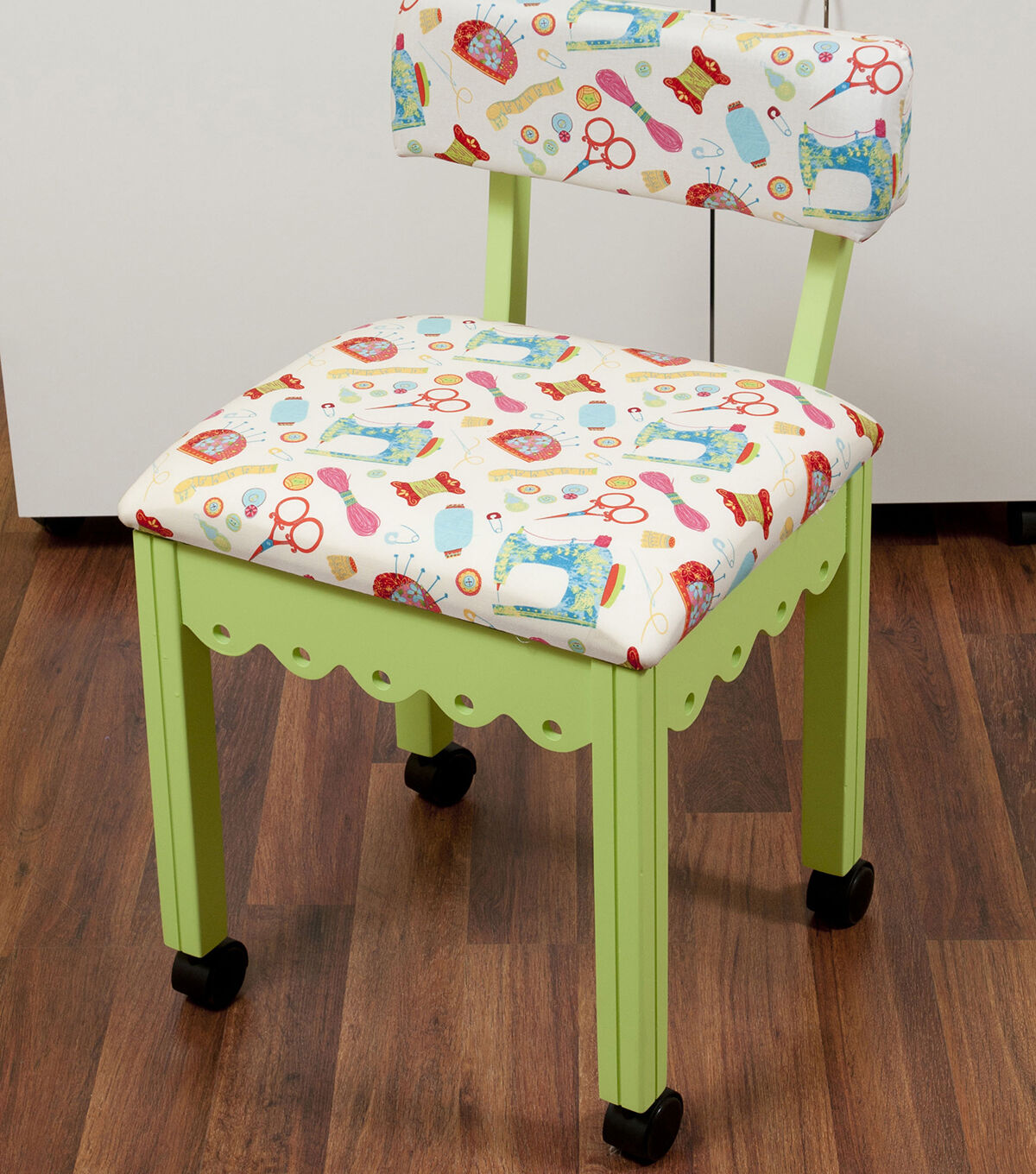 Arrow Green Sewing Chair With Scalloped Base Sewing Notions On White