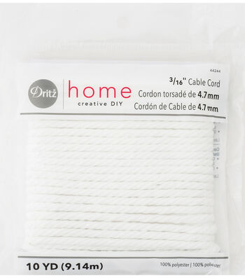 "Dritz Home 0.19"" x 10Yds Cable Cord White"
