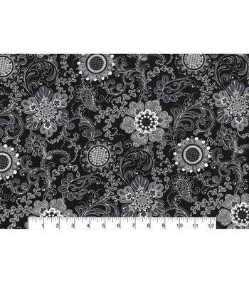 "Keepsake Calico™ Cotton Fabric 43""-Floral Medallion Gray"