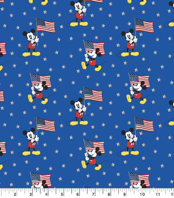 Disney Mickey Mouse Cotton Fabric-Team USA Flag