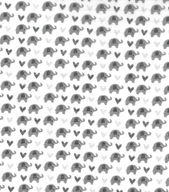 "Nursery Cotton Swaddle Fabric 44""-Grey Elephants"