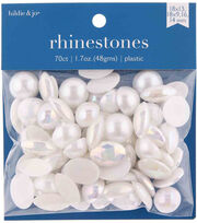 hildie & jo 70 pk 1.7 oz. Assorted Plastic Flat Back Rhinestones-White, , hi-res