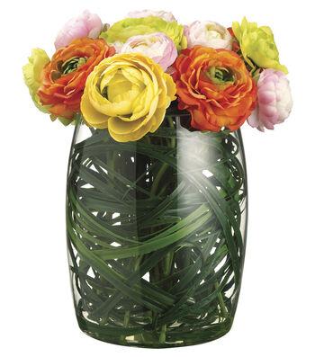 Bloom Room Luxe 13'' Ranunculus & Grass In Glass Vase-Orange