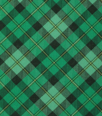 St. Patrick's Day Cotton Fabric-Plaid