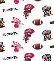 Ohio State University Buckeyes Cotton Fabric 43''-White, , hi-res