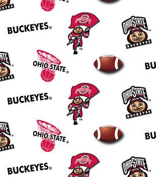 Ohio State University Buckeyes Cotton Fabric -White