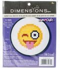 Learn-A-Craft Tongue Out Emoji Mini Counted Cross Stitch Kit-3\u0022