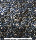 Scuba Knit Fabric 57\u0022-Blue & Black Mod Floral Foiled