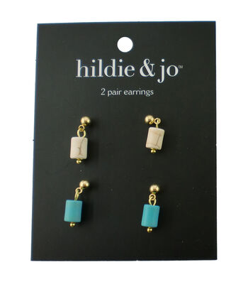 hildie & jo 2 Pack Gold Earrings-Ivory & Turquoise Stones