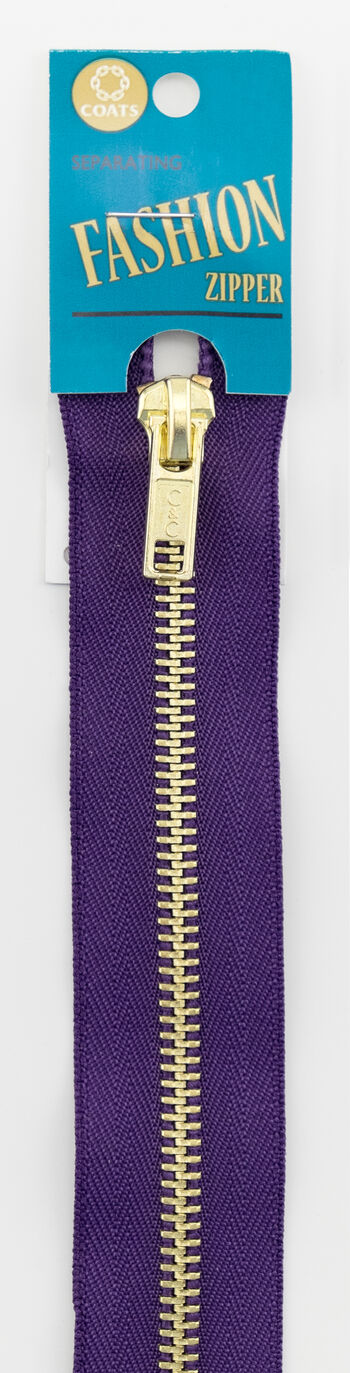 "F25F 24"" Fashion Brass Separating Zipper Purple"