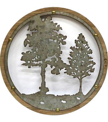Metal Trees Round Wall Decor 25.6''x25.6''