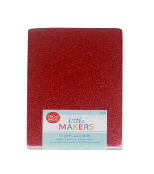 Little Makers 6X9'' Glitter Sticky Back Foam Value Pack-Multi Color