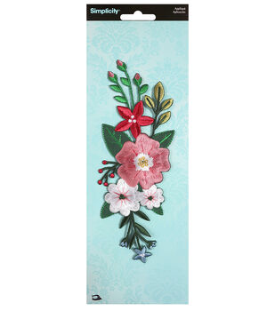 Simplicity Large Thick Stitch Flower Iron-on Applique-Multi