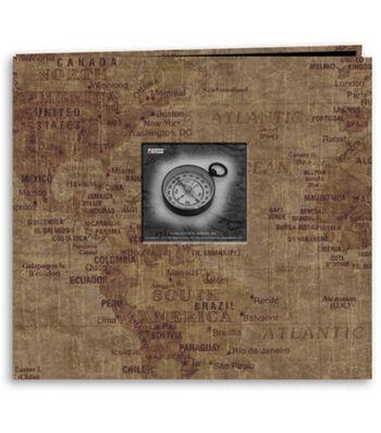 "Pioneer 12""X12"" Postbound Album Travel Print W/Frame-World Map"