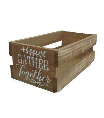 Blooming Autumn Wood Crate-Gather Together