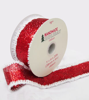 Handmade Holiday Glitter Sheer Ribbon 1.5''x20'-Red with White Fur Edge