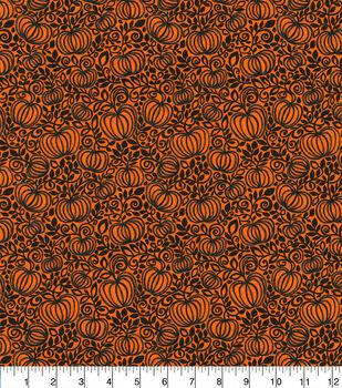 Halloween Cotton Fabric-Pumpkin Patch Orange Glitter