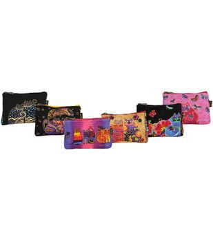 "Laurel Burch Cosmetic Bag 9""x1""x6""-Feline Minis Assorted Designs"