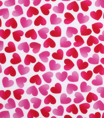 Valentine's Day Print Fabric 43''-White with Pink Hearts