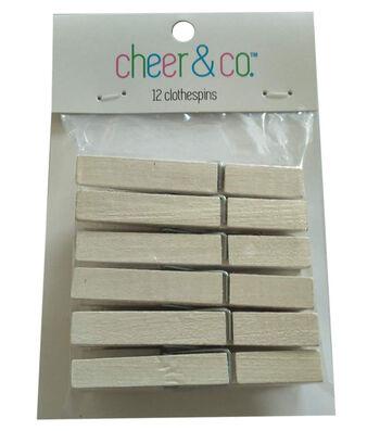 Cheer & Co. 12 pk Medium Clothespins-White