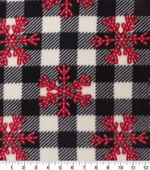 Christmas Anti-Pill Plush Fleece Fabric-Red Snowflakes on Buffalo Checks