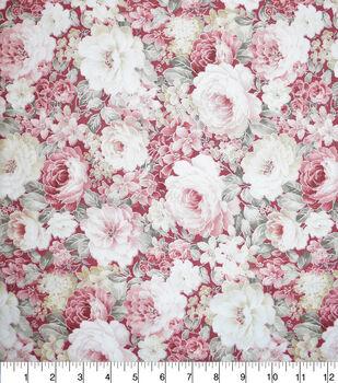 Premium Cotton Fabric-Burgundy & Pearl Packed Garden